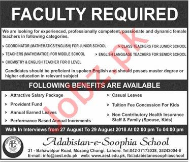 Faculty required for Adabistan e Soophia School