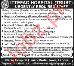 Staff required for Ittefaq Hospital