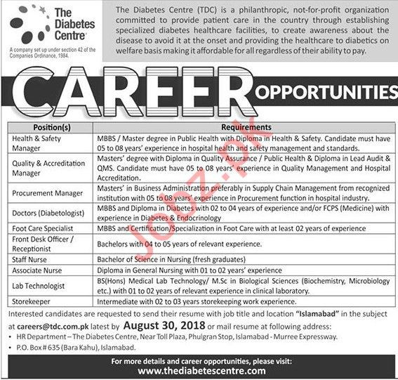 The Diabetes Center TDC Islamabad Jobs 2018 for Managers