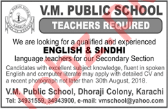 Teachers for VM Public School