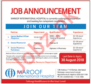 Careers at Maroof International Hospital MIH