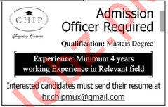 Chip School Faisalabad Admission Officer Jobs 2018
