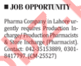 Production Incharge Required