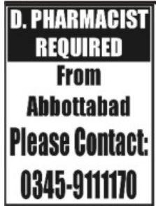 Pharmacist Jobs Opportunity in Abbottabad