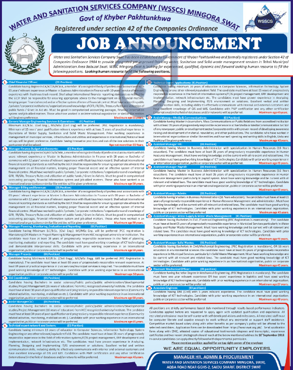 Water And Sanitation Services Company WSSC Swat Jobs