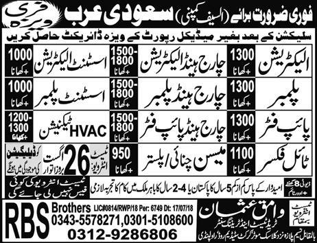 Electricians, Assistant Electricians, Plumbers Wanted