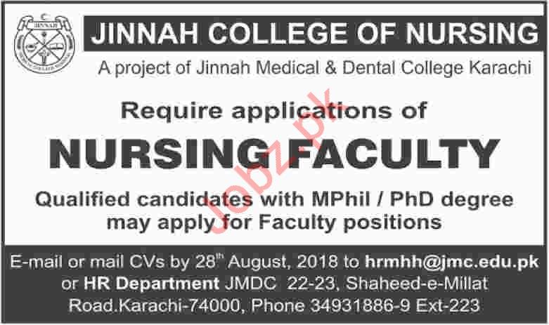 Jinnah College of Nursing Karachi Jobs 2018 for Nurses
