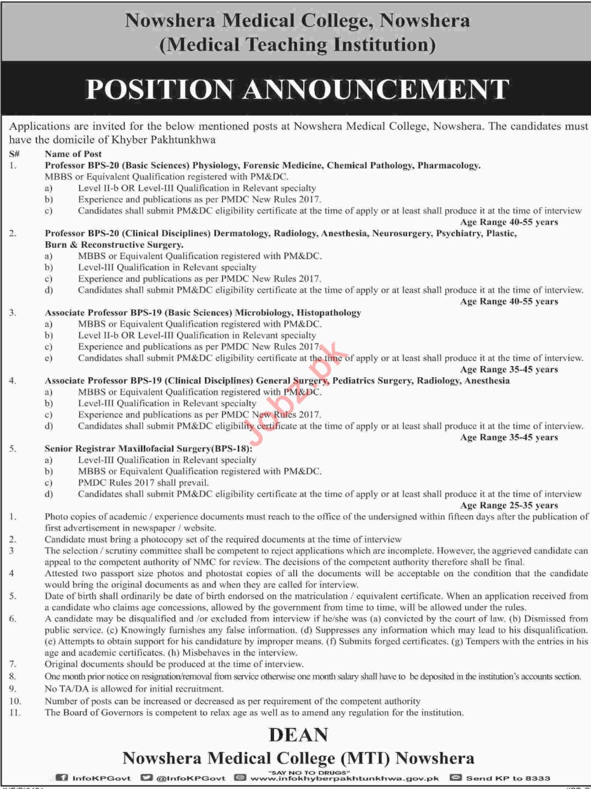 Nowshera Medical College NMC Nowshera Jobs 2018