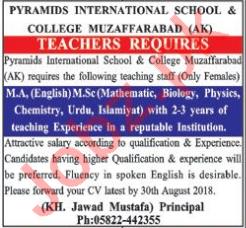 Pyramids International School & College AJK Jobs 2018