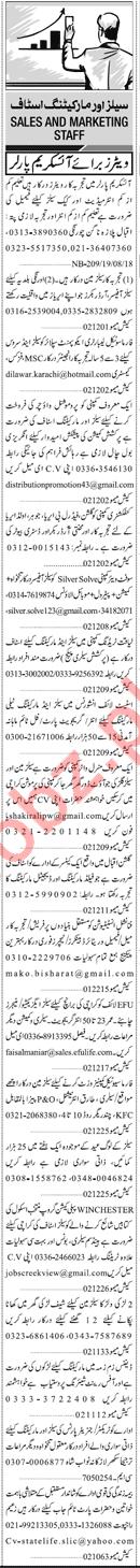 Sales & Marketing Jobs 2018 For Karachi