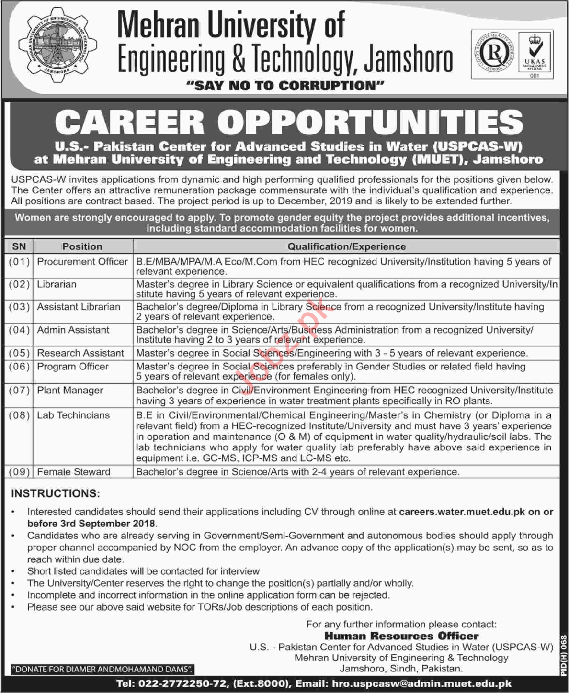 Mehran University of Engineering & Technology MUET Jobs 2018