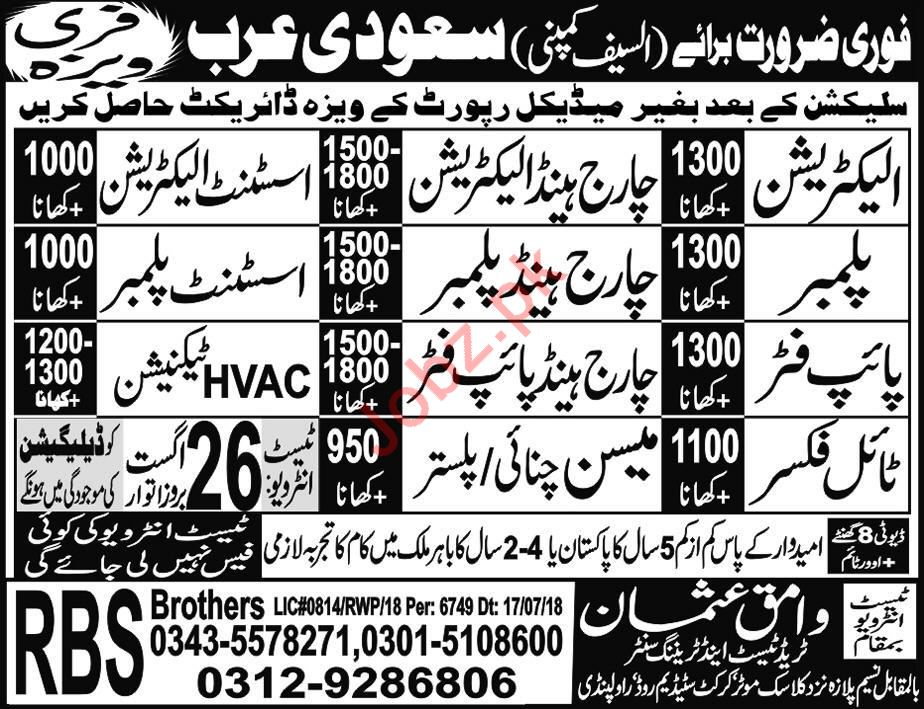 Electrician, Charge Hand, Plumber, Pipe Fitter, Masson Jobs