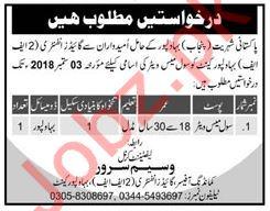Pak Army 2FF Bahawalpur Cantt Jobs 2018 for Mess Waiter