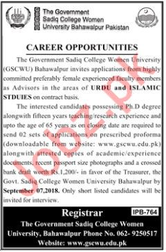 Govt Sadiq College Women University GSCWU Bahawalpur Jobs