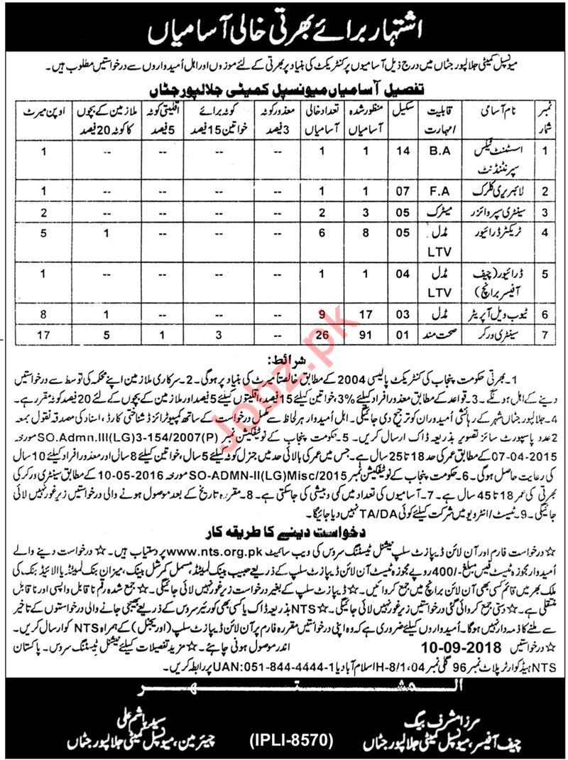 Municipal Committee Jalalpur Jattan Gujrat Jobs 2018