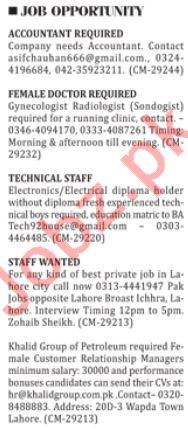 Teachers, Technical Staff & Accountant Jobs 2018