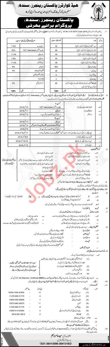 Join Headquarter Pakistan Ranger Sindh