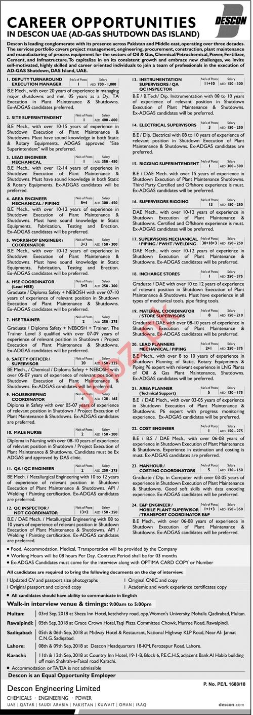 Descon Engineering Limited DEL Jobs