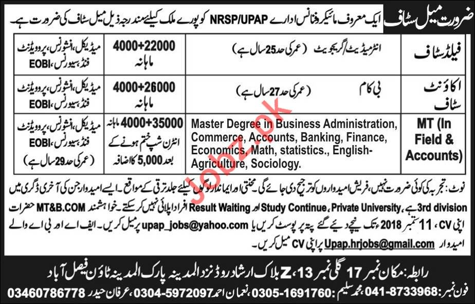 Account staff for Micro finance Organization