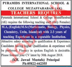 Pyramids International School & College Teaching Jobs 2018