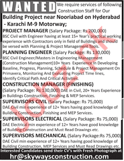 Managers, Planning Engineer & Supervisors Jobs 2018