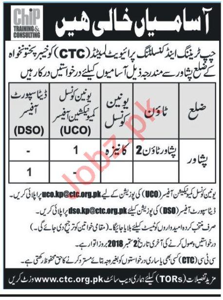 CHIP Training & Consulting Peshawar Jobs 2018