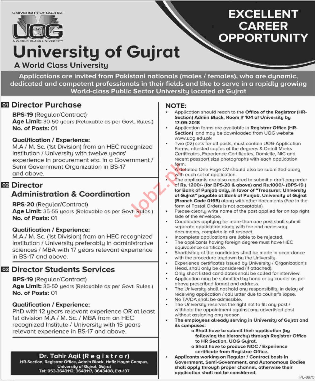 University of Gujrat UOG Directors Jobs 2018