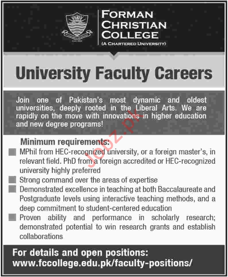 Forman Christian College University Faculty Jobs 2018