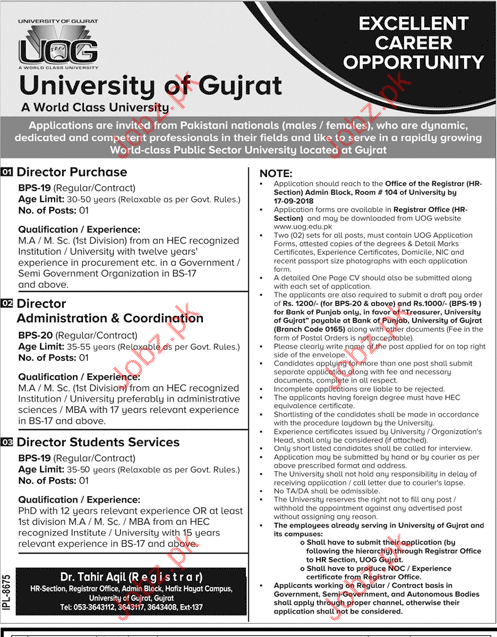 University of Gujrat Director Purchase Jobs 2018