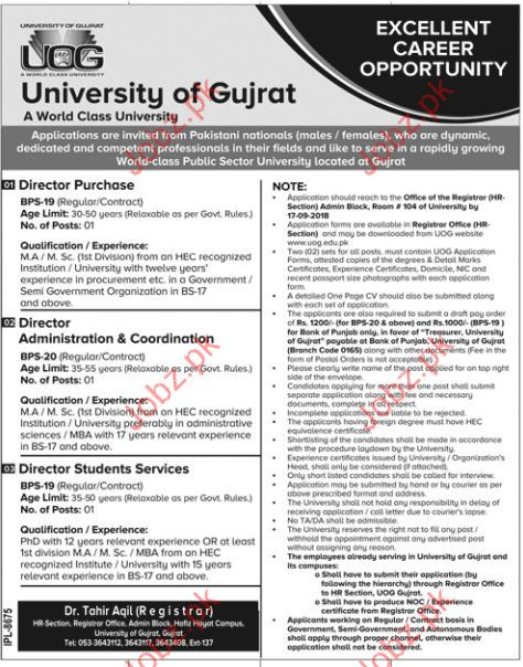 University of Gujrat UOG Director Purchase Jobs 2018
