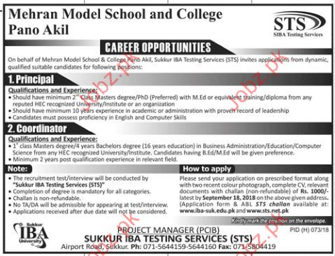 Mehran Model School & College Principal Jobs 2018