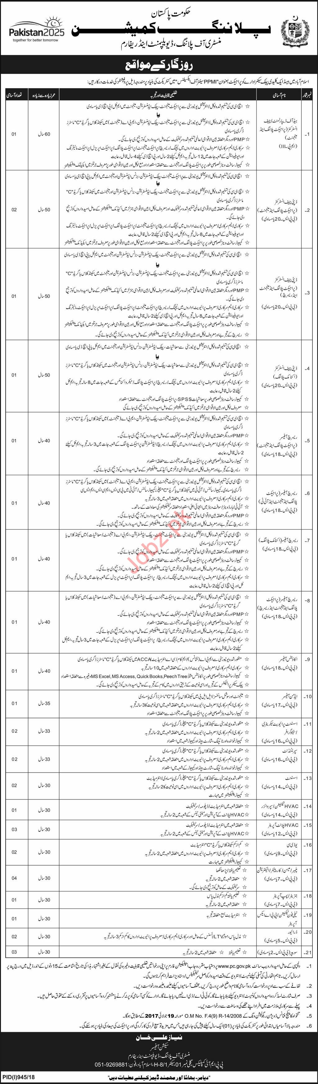 Government of Pakistan Planning Commission Islamabad Jobs