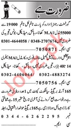 Male & Female Staff Jobs 2018 in Lahore 2019 Job Advertisement Pakistan