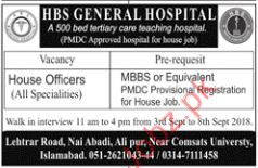 HBS General Hospital House Officer Jobs 2018 2019 Job