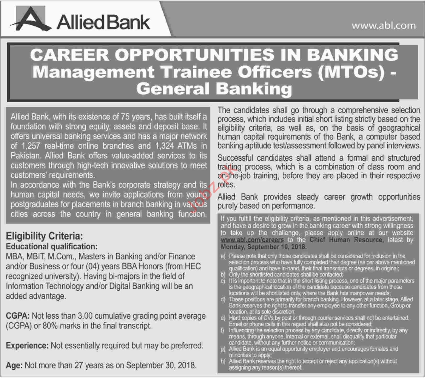 Management Trainee Officers MTOs for Allied Bank