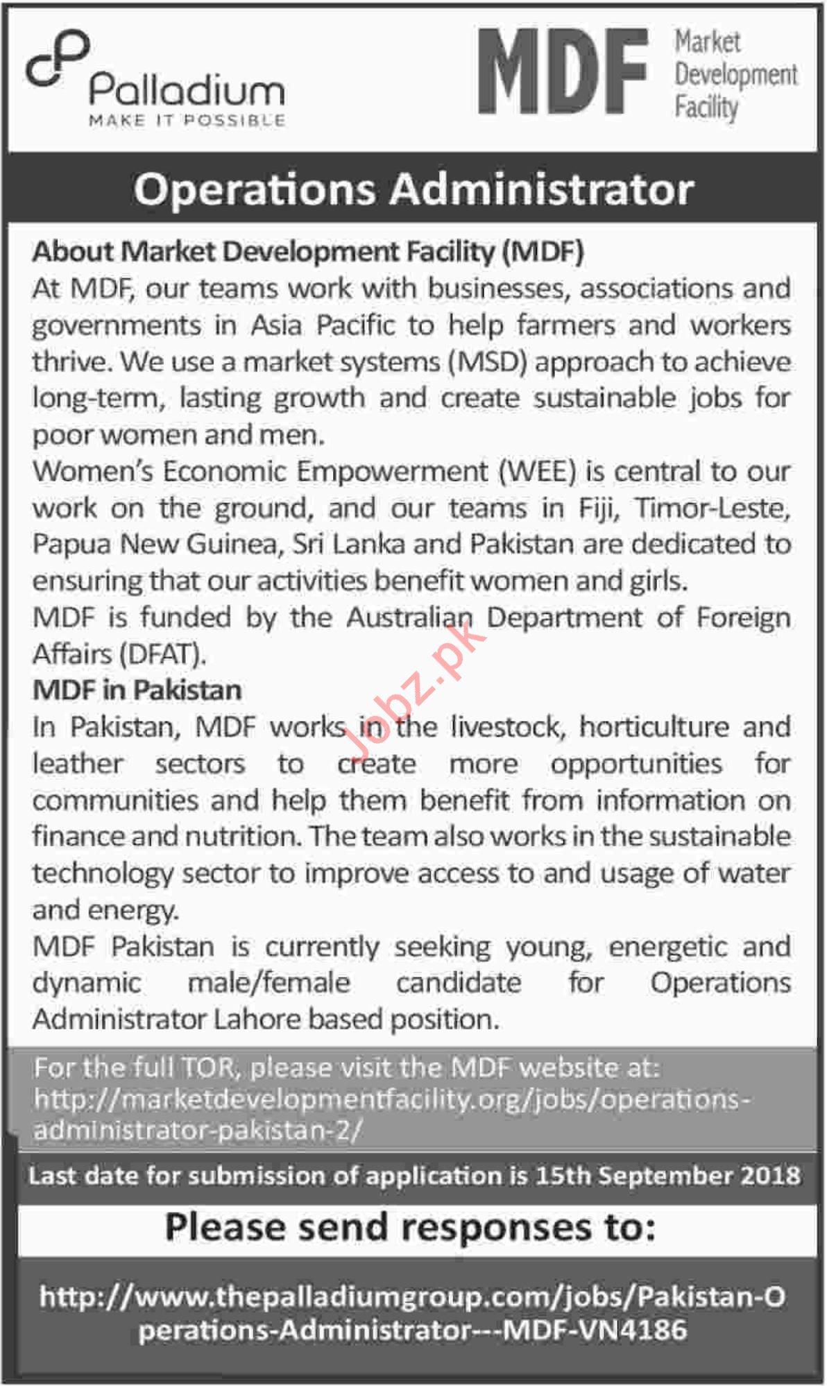Operations Administrators for Market Development Facility