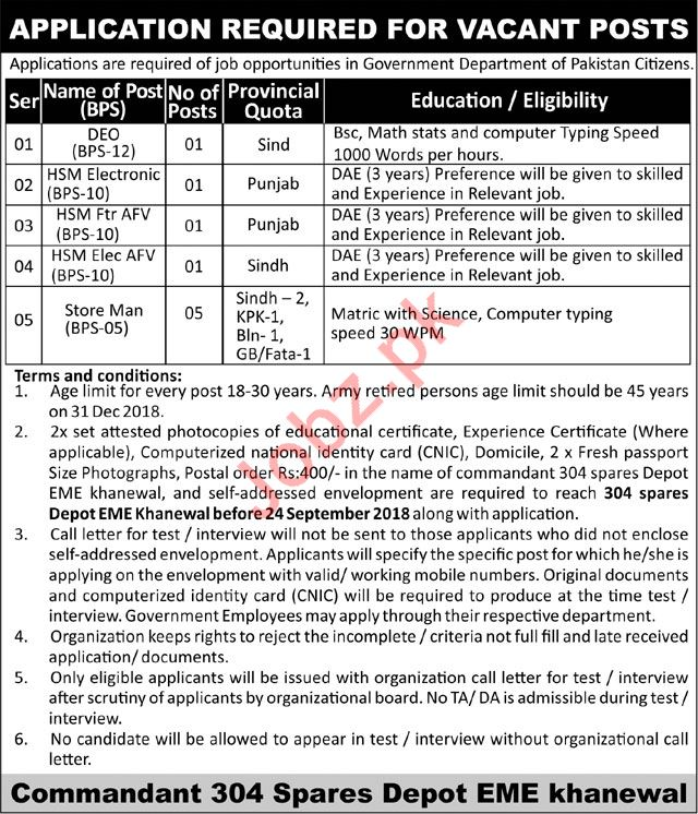 DEO, HSM Electronic, HSM & Store Man Jobs 2018