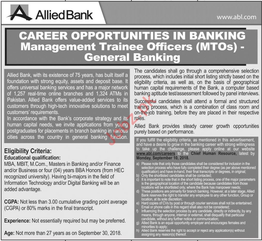 Allied Bank Limited ABL Jobs 2018 in Quetta