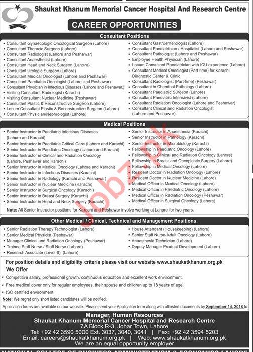 Shaukat Khanum Memorial Hospital & Research Centre Jobs