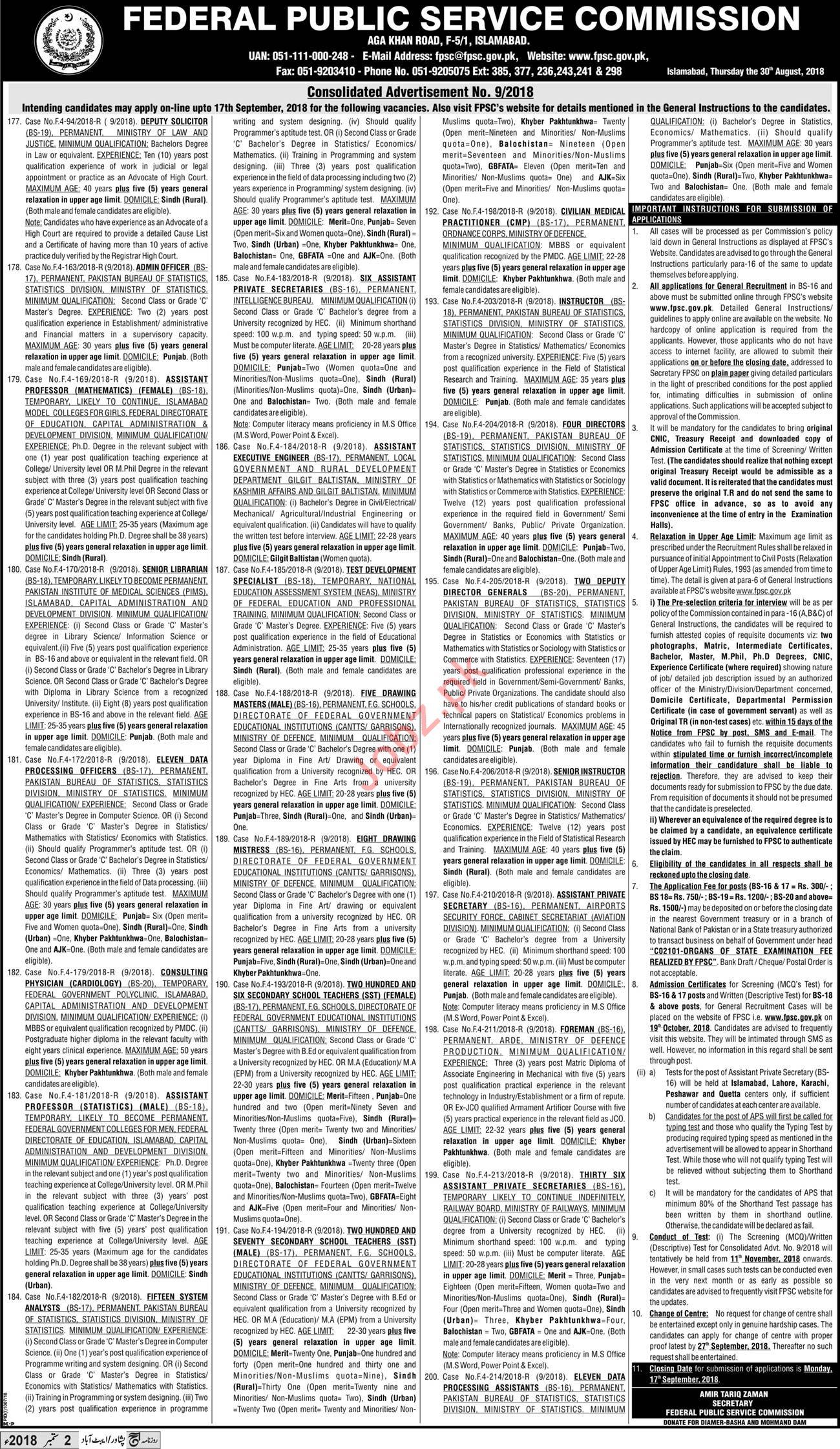 Federal Public Service Commission FPSC Vacancies
