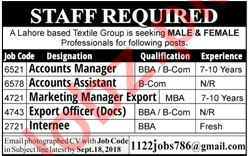 Accounts Manager for Textile Group