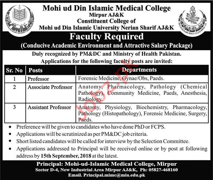 Mohi ud Din Islamic Medical College Jobs