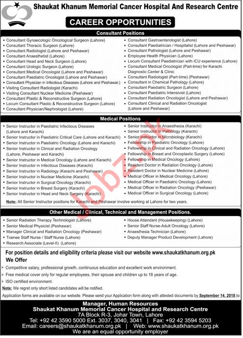 Shaukat Khanum Memorial Cancer Hospital Medical Jobs 2018