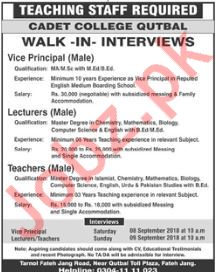 Cadet College Qutbal Walk In Interviews 2018