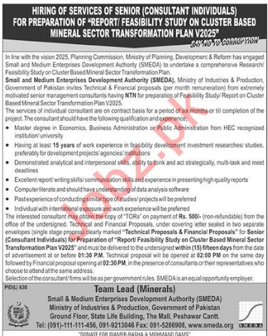 Ministry of Industries & Production SMEDA Peshawar Jobs 2018