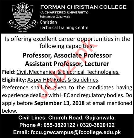 Careers at Forman Christian College FCC