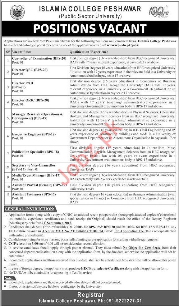 Jobs at Islamia College Peshawar