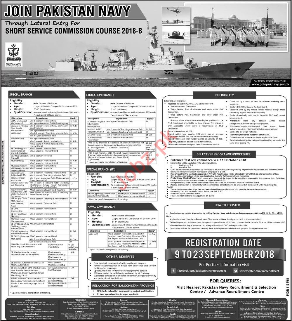 Join Pakistan Navy by Short Service Commission Course 2018-B
