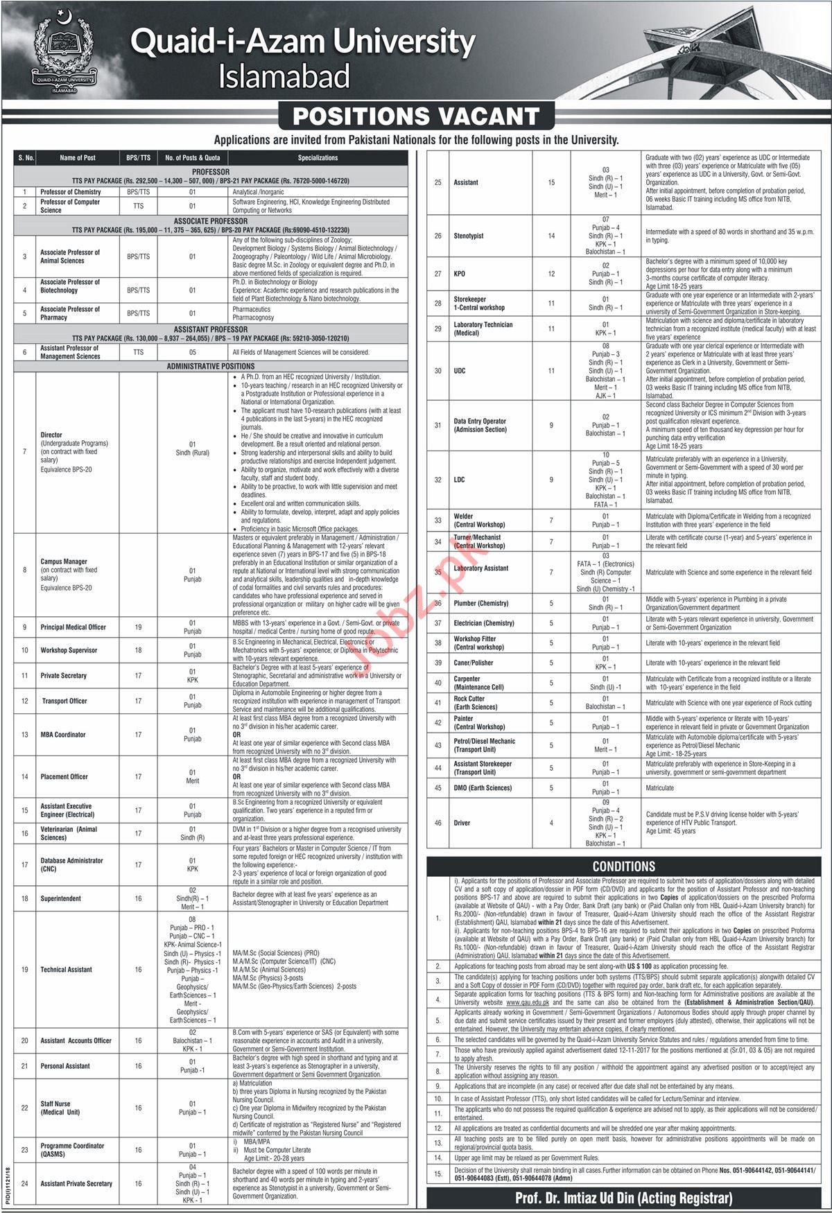 Quaid i Azam University Islamabad Professors Jobs 2018