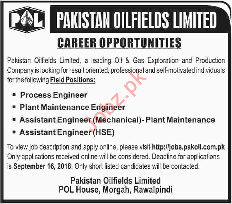 Pakistan Oilfields Limited POL Process Engineer Jobs